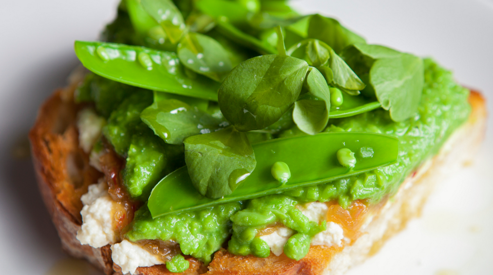A more professional, wel-lit photo of pea toast, courtesy Salt Air