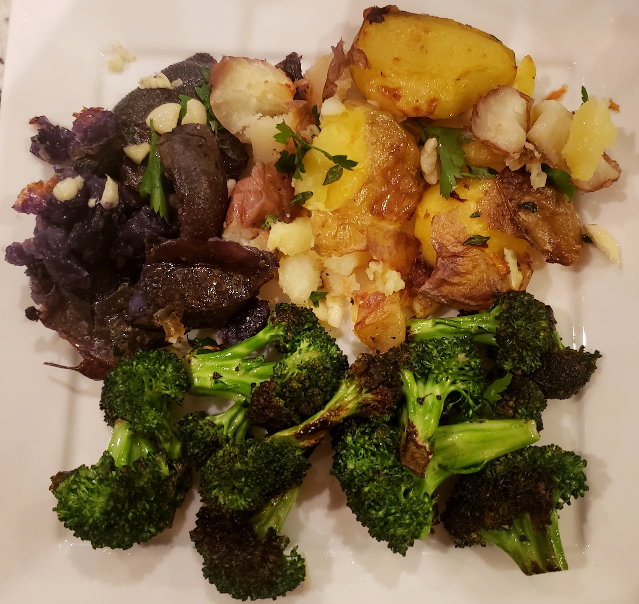 Crispy smashed potatoes with broccoli